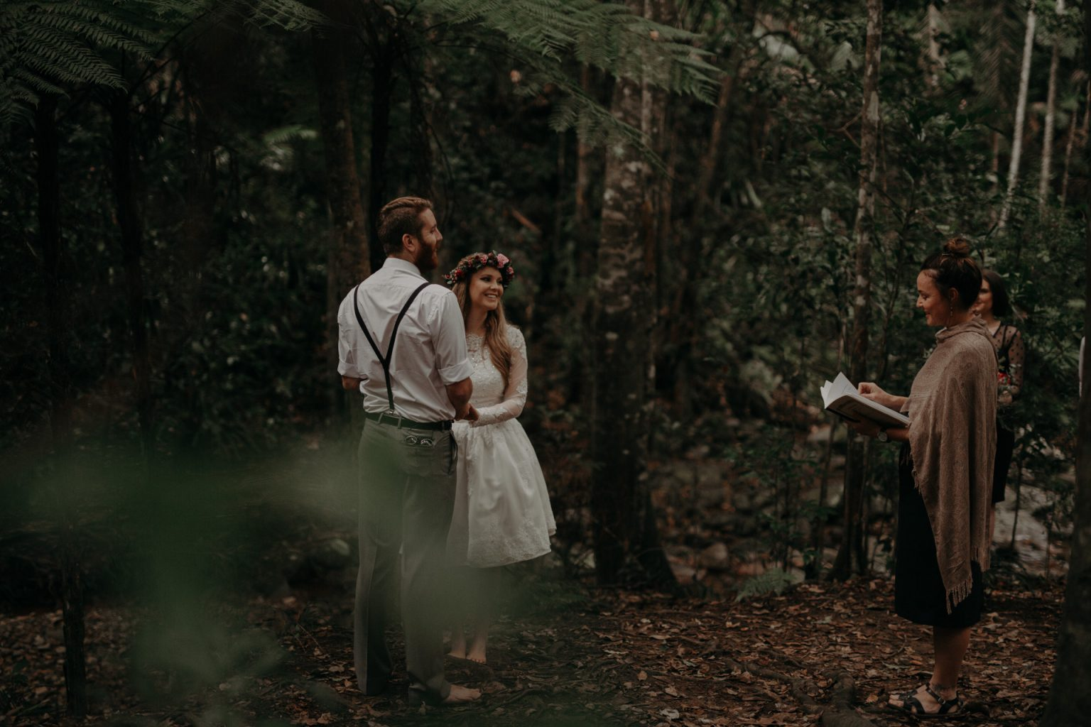 bride and groom forest elopement cougal cascades currumbin