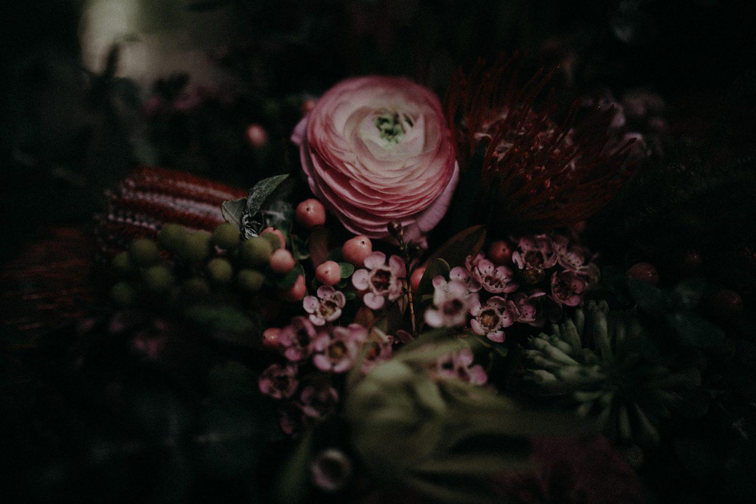 bridal bouquet pink native flowers