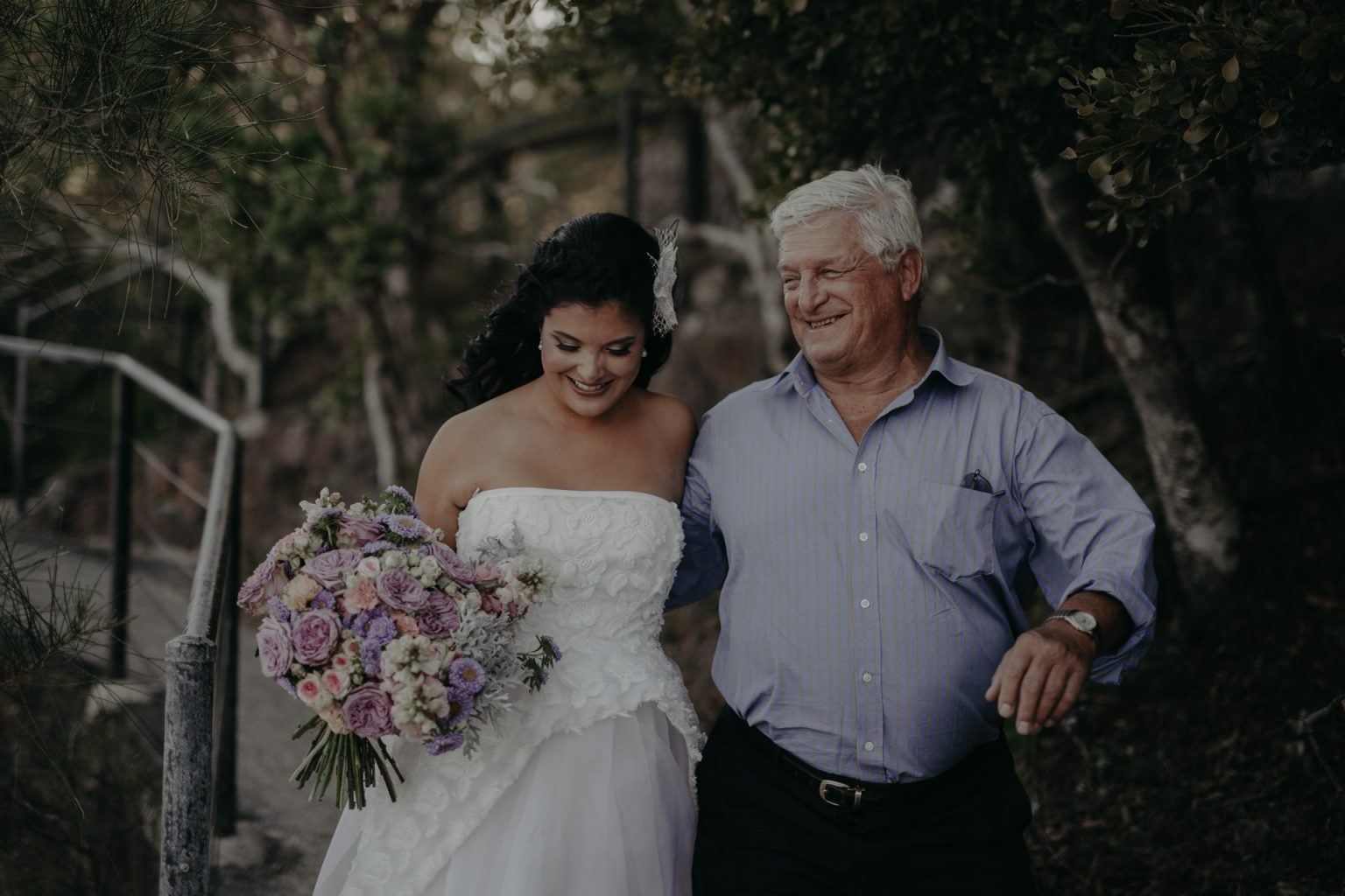 bride and father walking path Burleigh national park