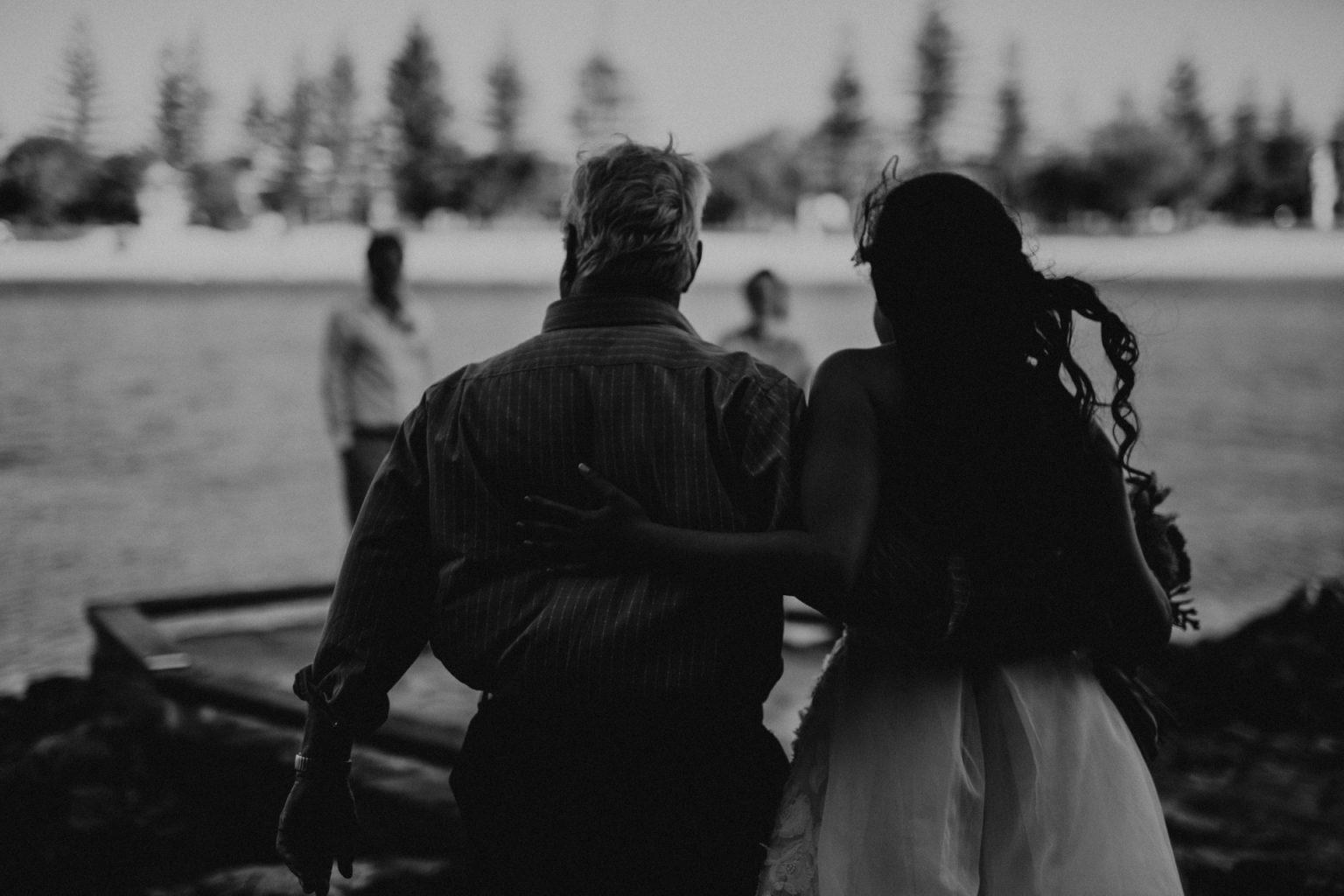 bride and father echo beach silhouette