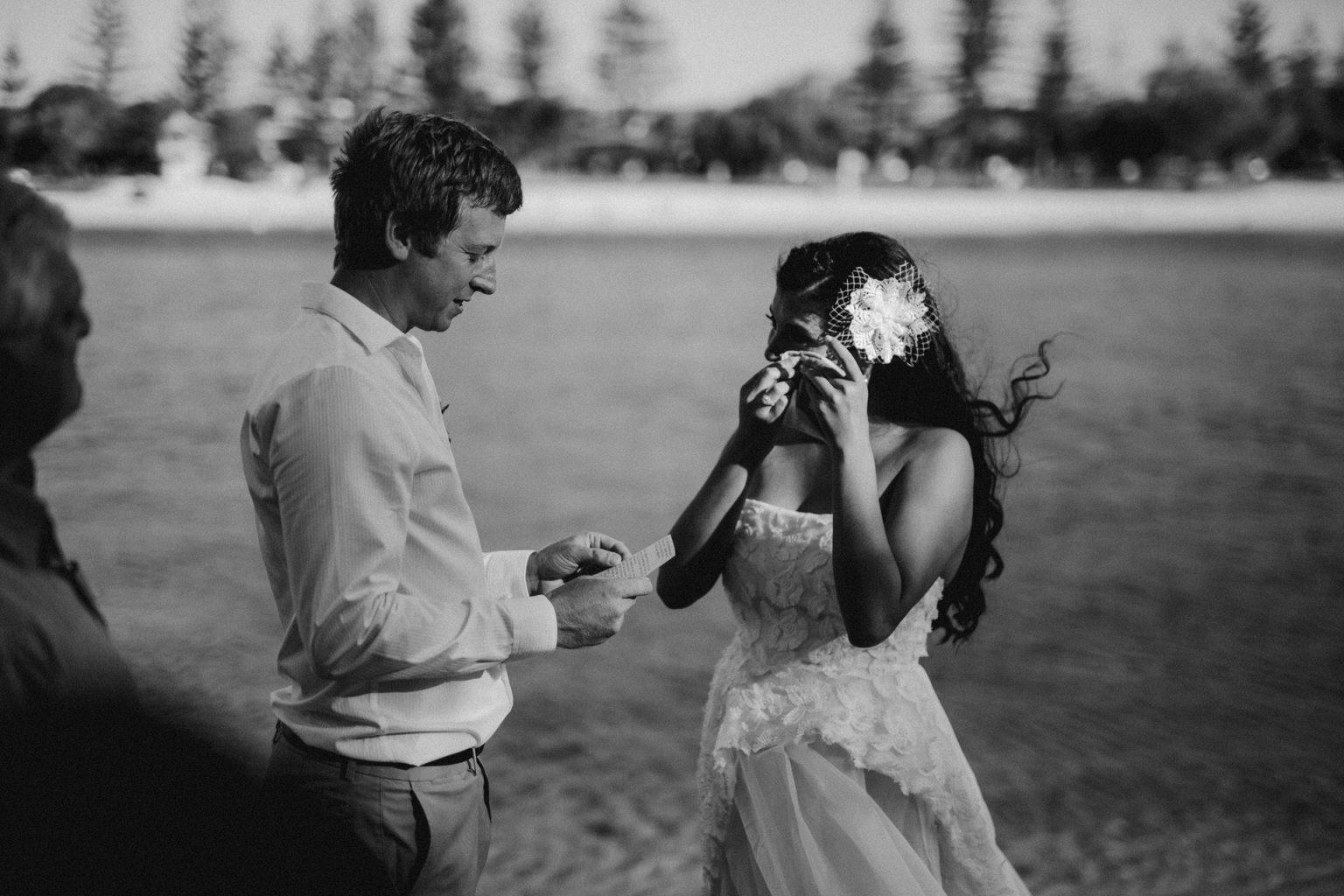 bride crying, man reading vows echo beach burleigh