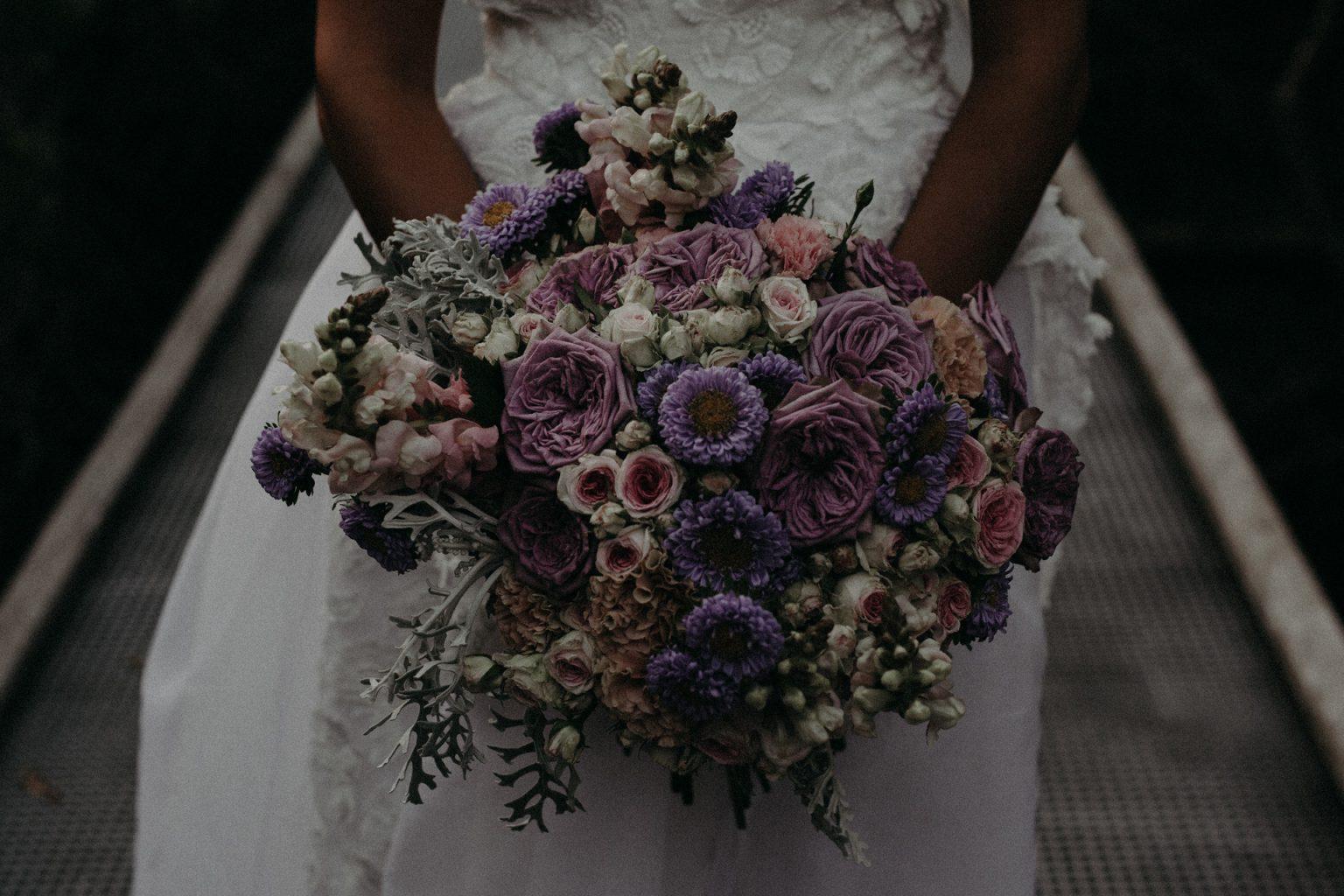 bridal bouquet purple pink flowers