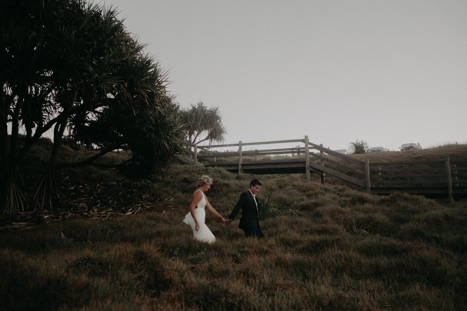bride and groom cabaret beach long grass