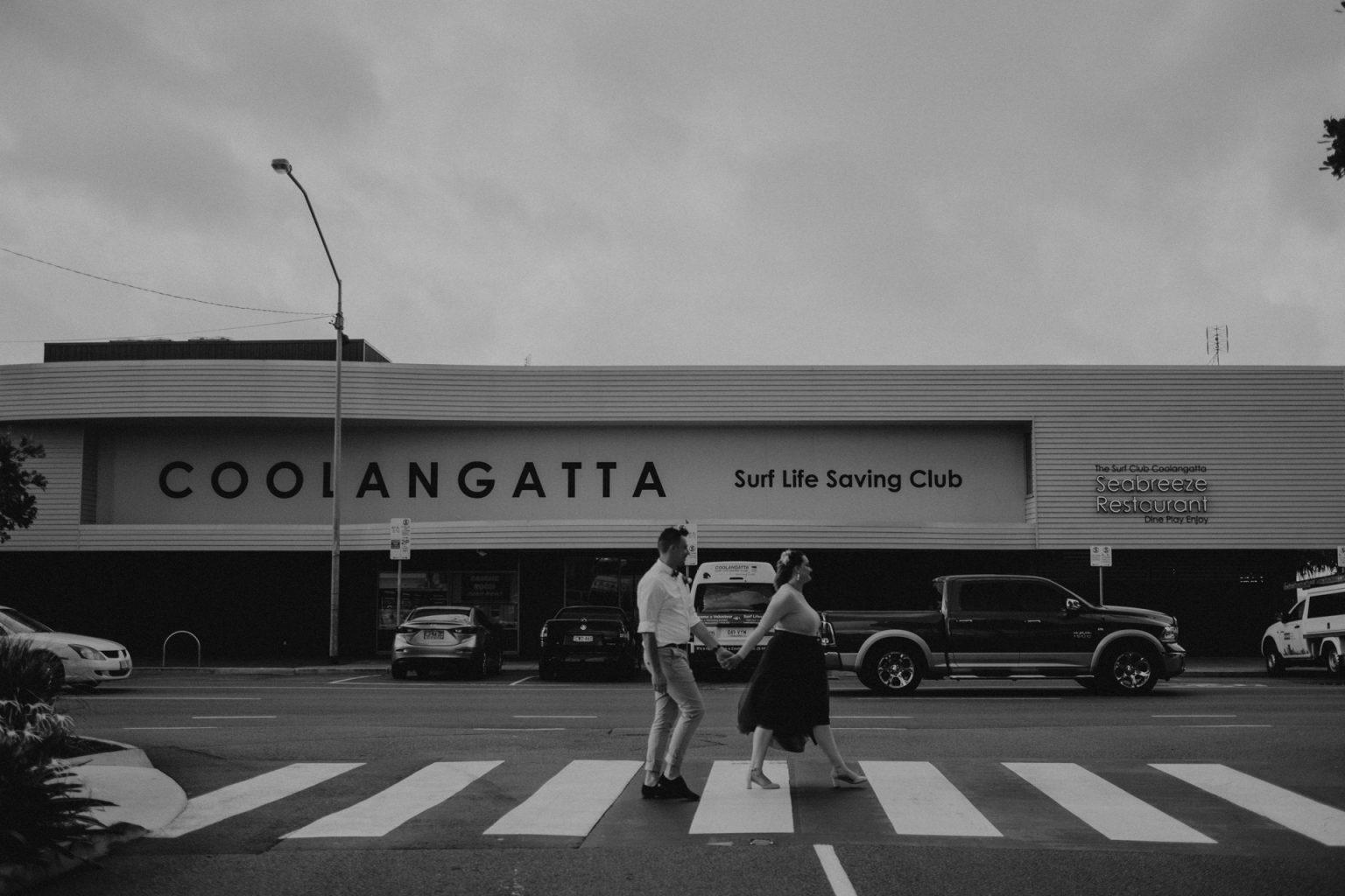 bride and groom coolangatta crosswalk