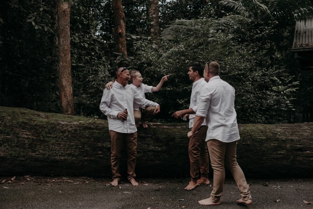 family forest groomsmen