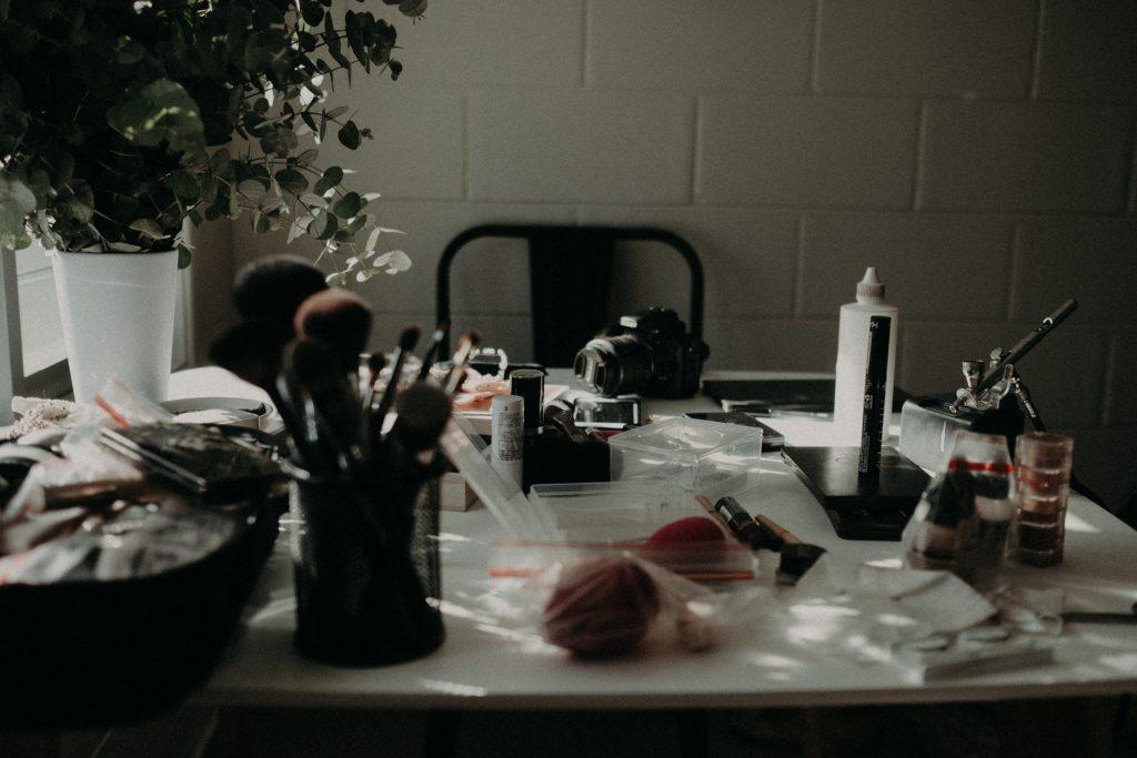 makeup on table wedding