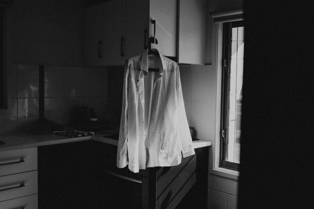 groom shirt hanging