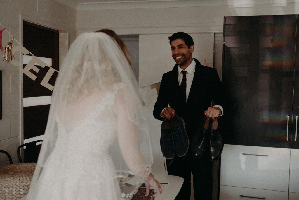first look groom bride