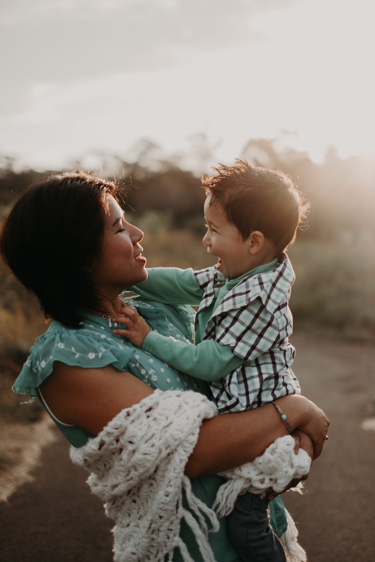 Mother and son mt tamborine country golden light