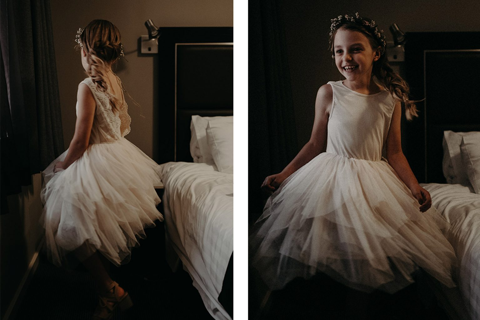 bridesmaid twirling by window