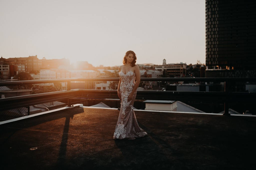 bride on rooftop for New York style elopement in Fortitude Valley Brisbane sunset