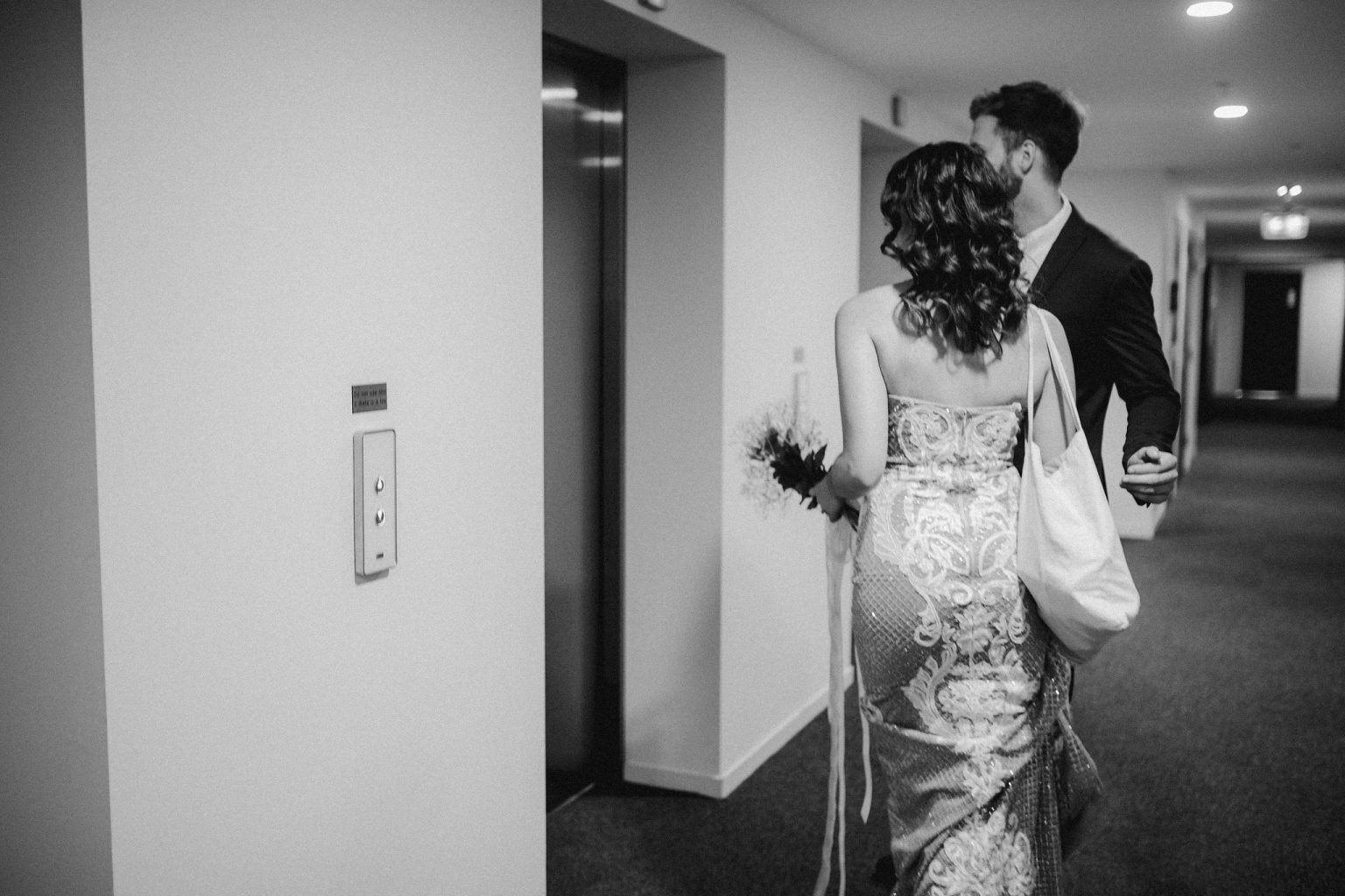 bride and groom at elevator fortitude valley