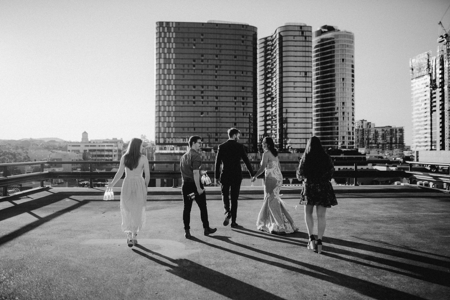 bridal party on rooftop for New York style elopement in Fortitude Valley Brisbane