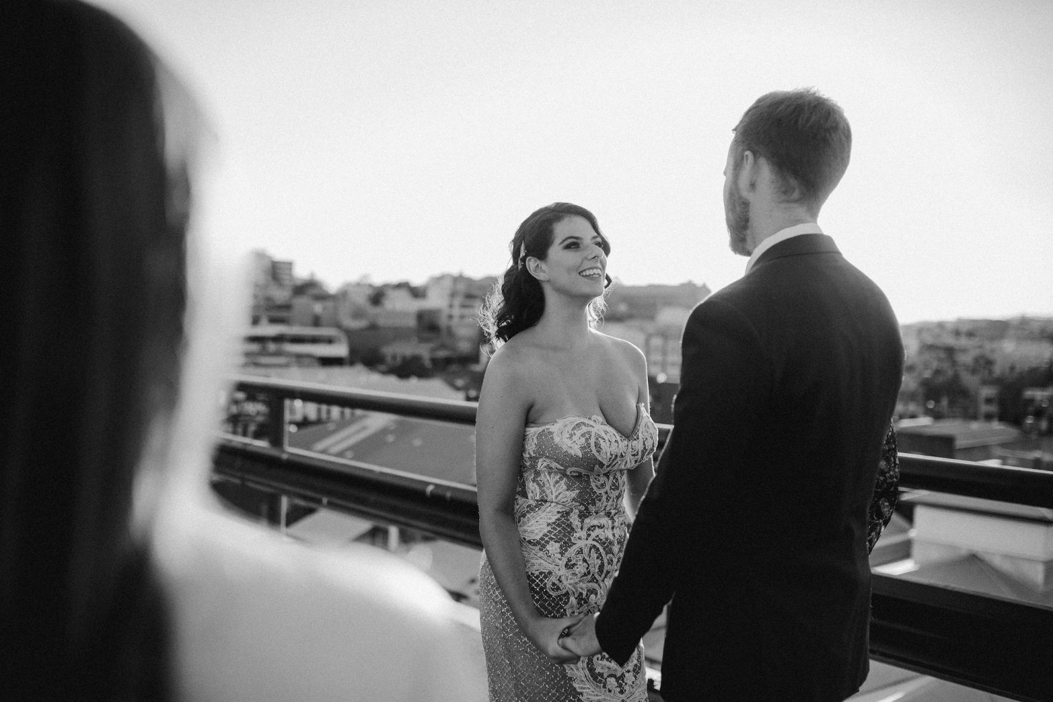 bride and groom on  rooftop for New York style elopement in Fortitude Valley Brisbane