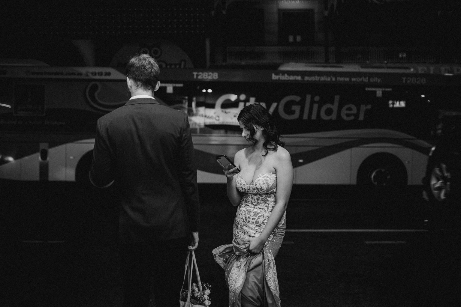 bride walking through fortitude valley late night brisbane