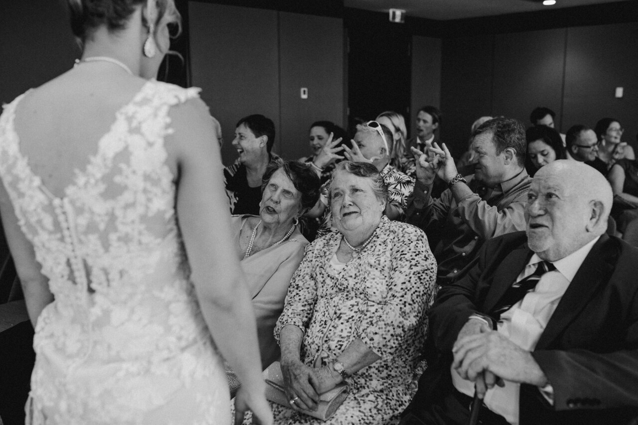 Grandmothers talking to bride at Brisbane Registry RBDM