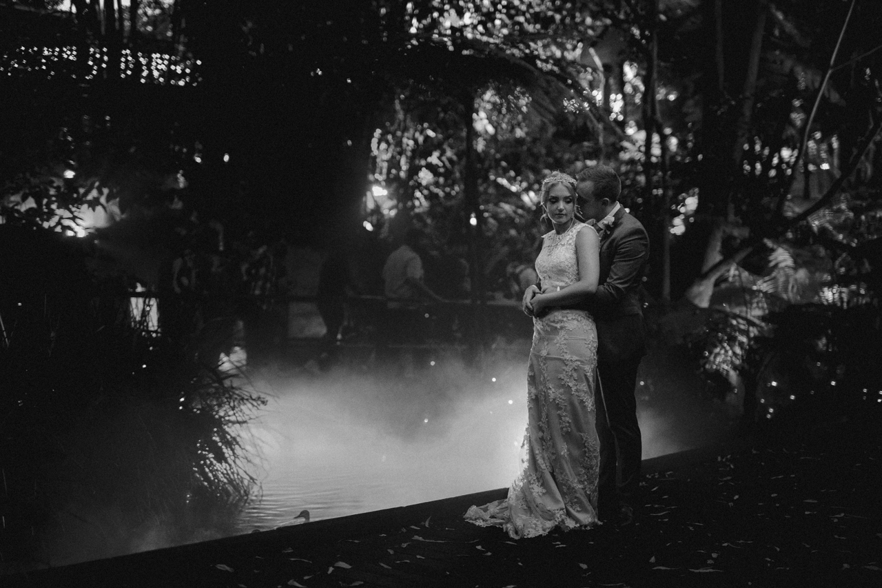 Bride and groom dancing Roma Street Parklands boardwalk enchanted gardens