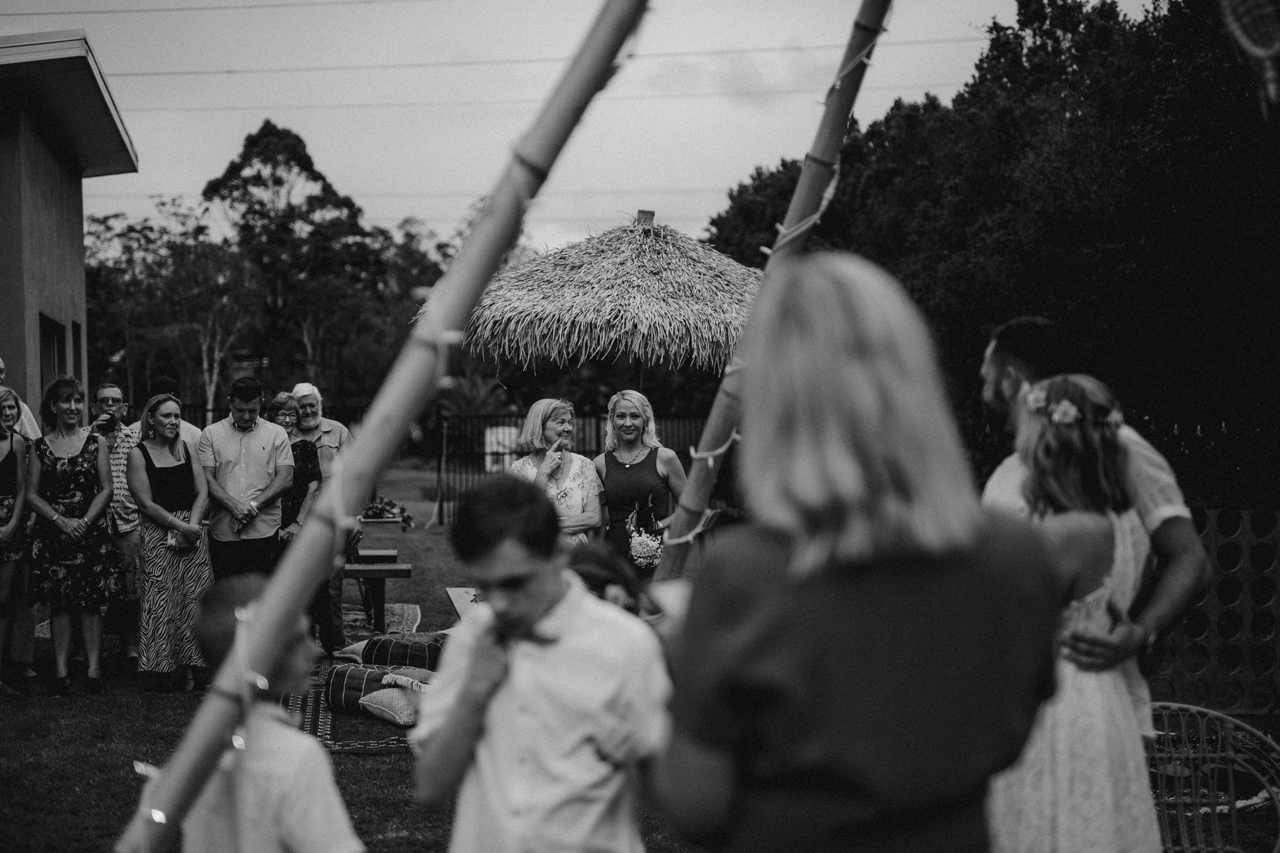 two women talking  at garden wedding Eatons hill Brisbane