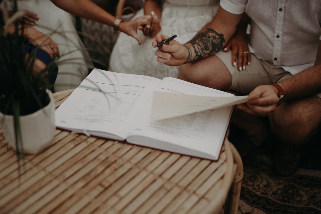 signing book  at garden wedding Eatons hill Brisbane