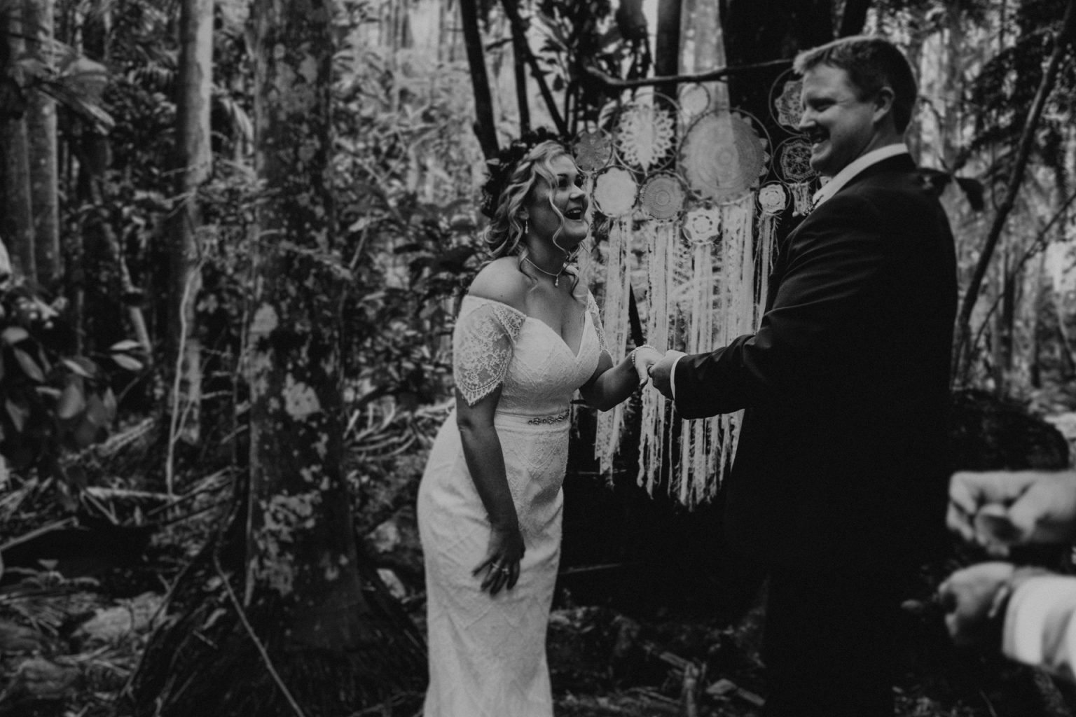 bride and groom at forest alter elopement ceremony