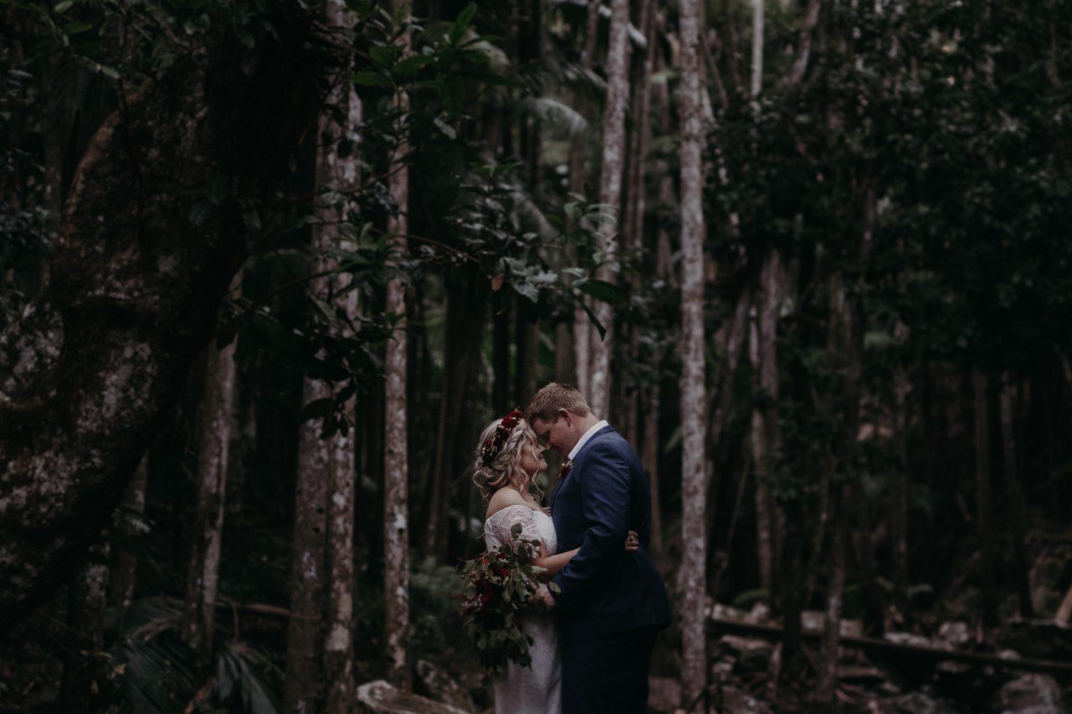 bride groom kiss in forest mt tamborine