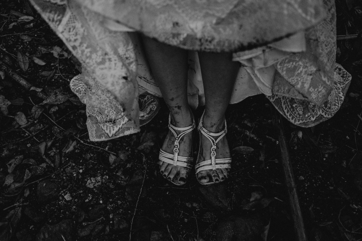 dirty feet bride in dress forest