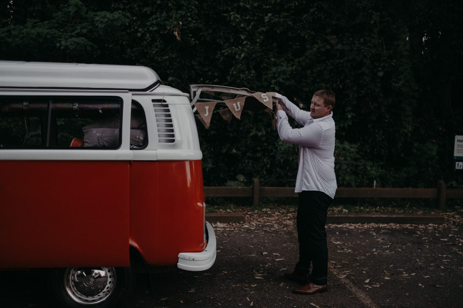 groom in wet clothes with kombi