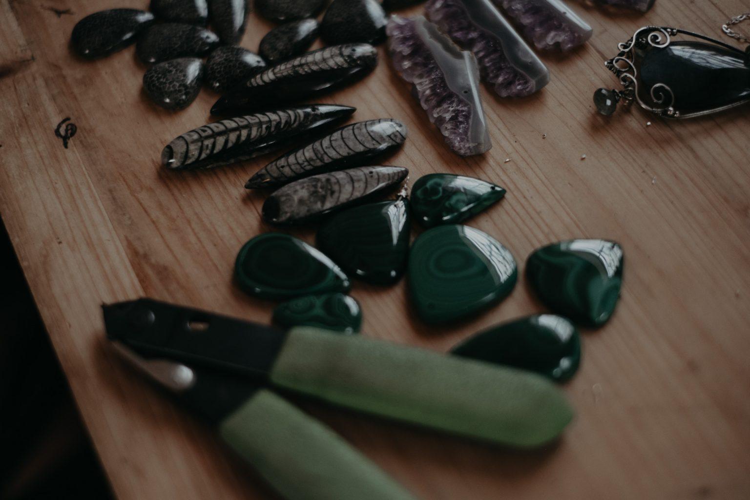 gemstones on table