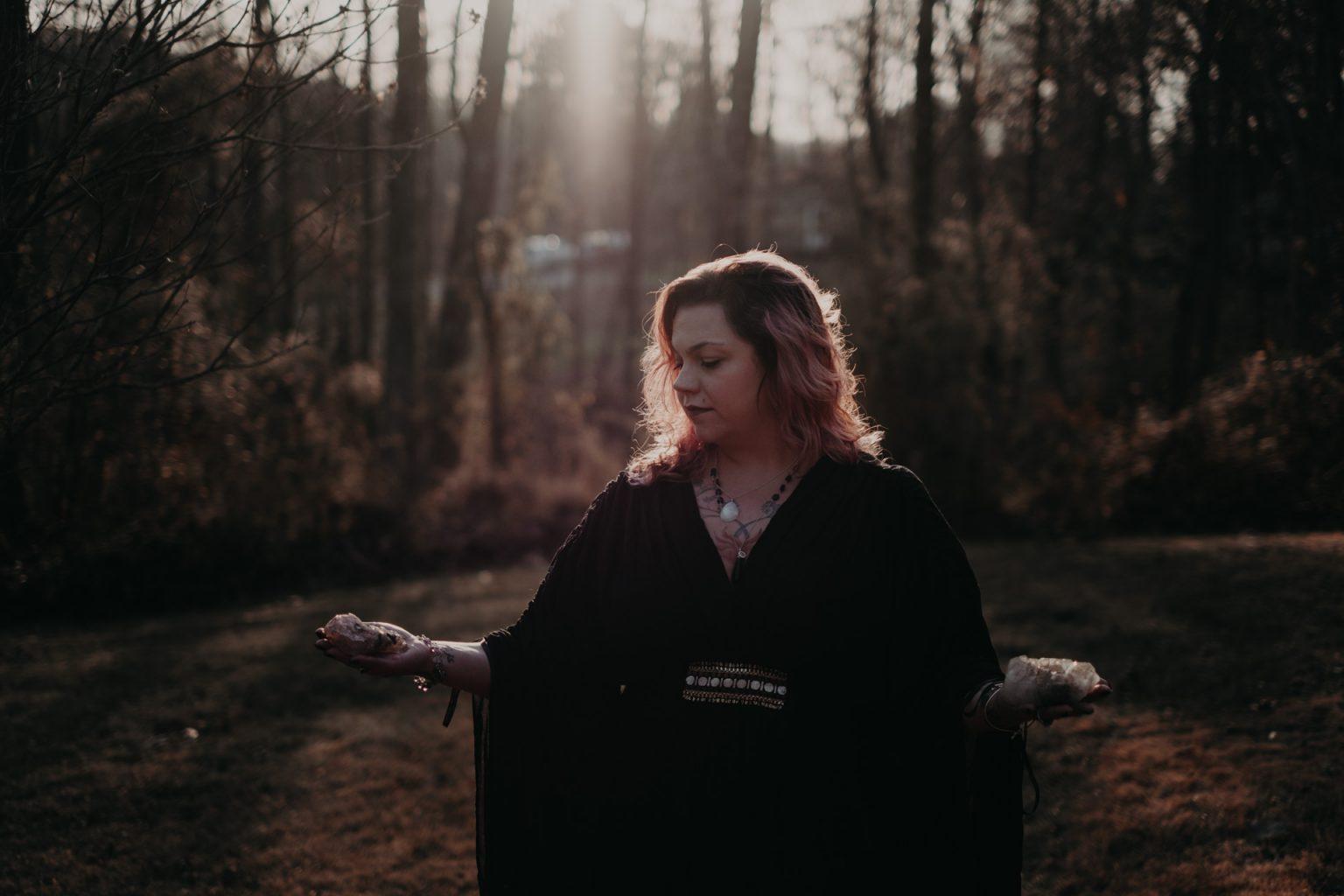 portrait of woman in woods
