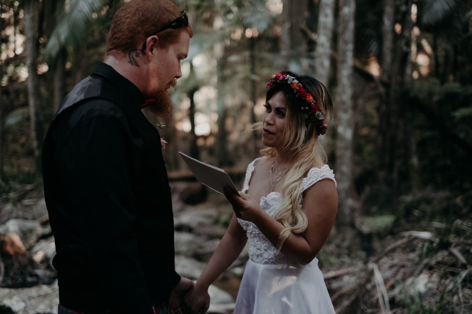 bride and groom eloping in forest mt tamborine vows