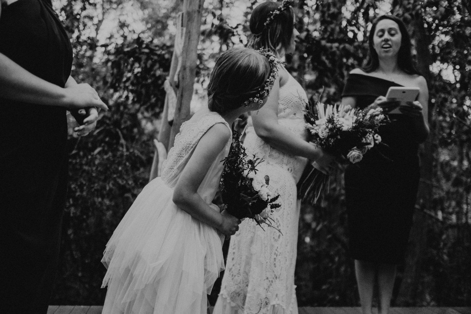 bride and flower girl ceremony elopement brisbane