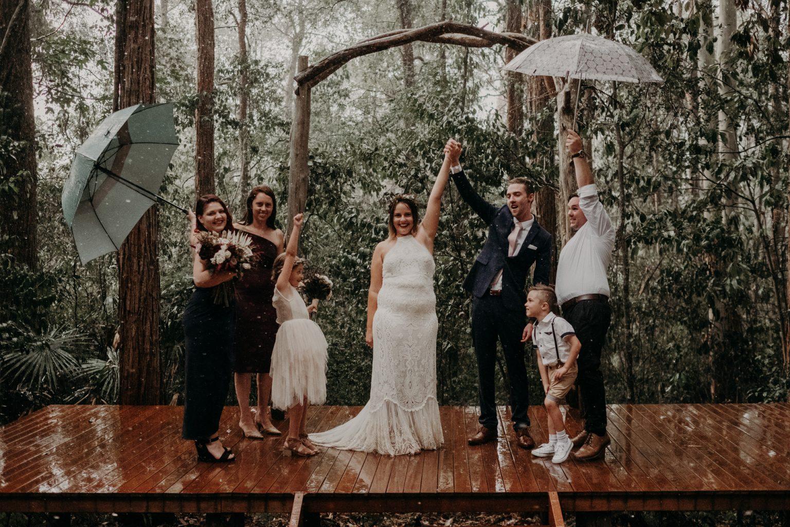 Brisbane forest elopement rain joy