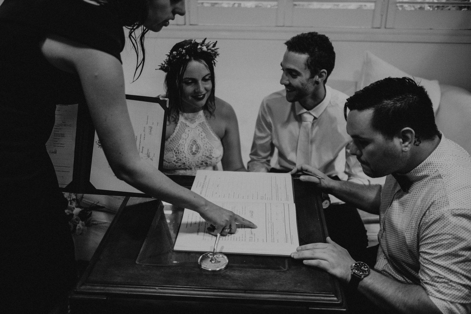 bride groom signing paperwork