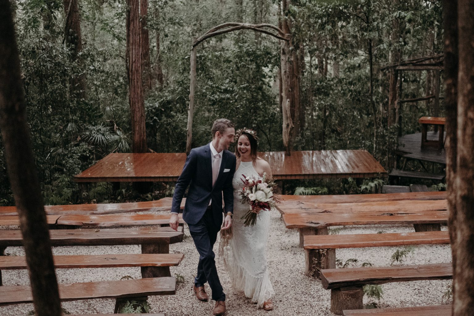 bride groom forest elopement laughing