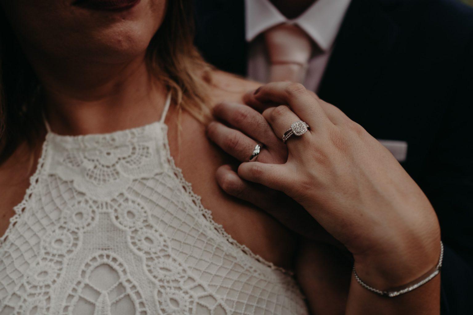 bride groom forest elopement brisbane close up rings