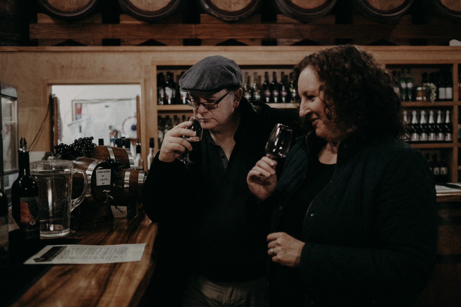 Man and woman tasting wine at mount tamborine