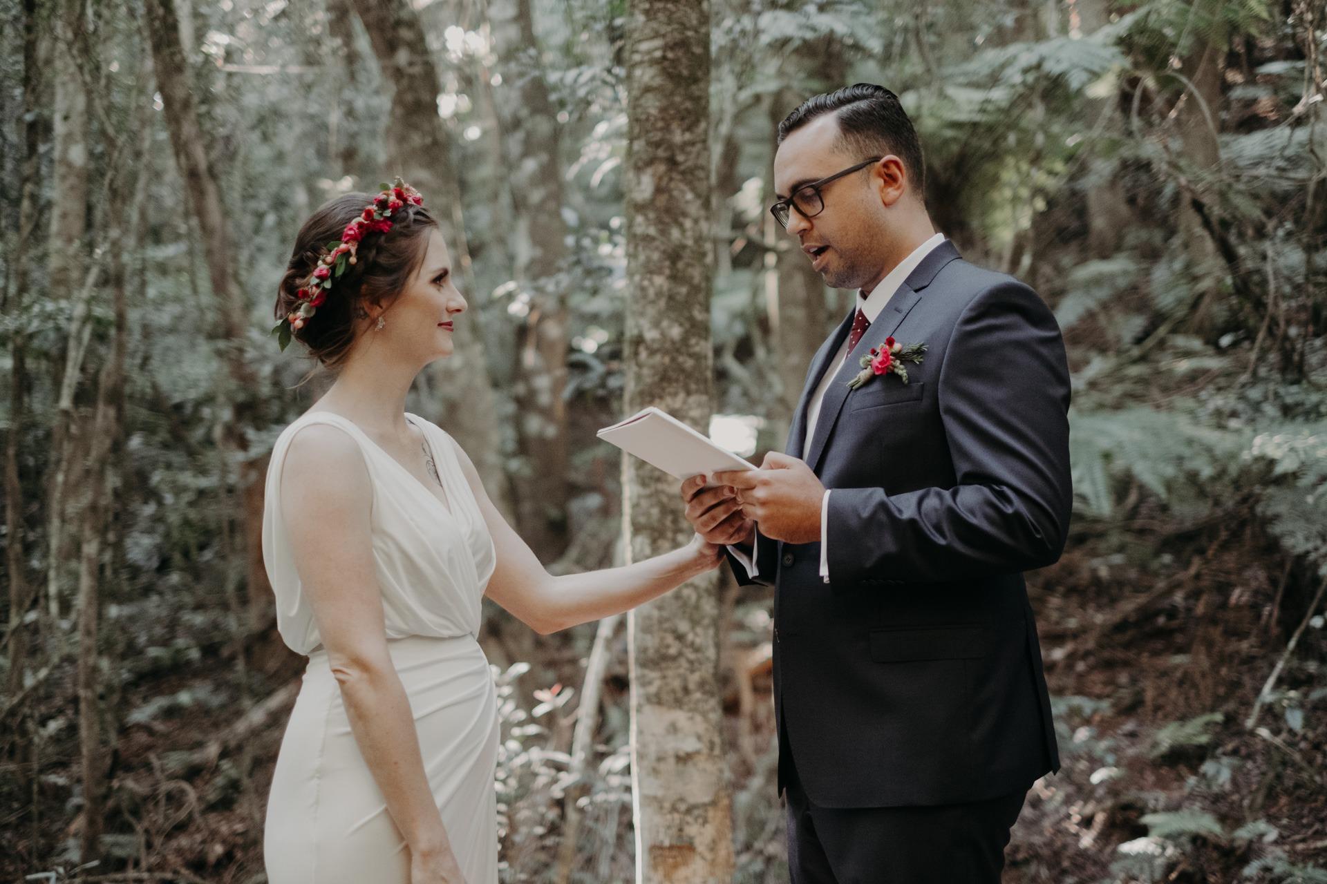 bride and groom vows forest elopement oreillys mountain rainforest retreat