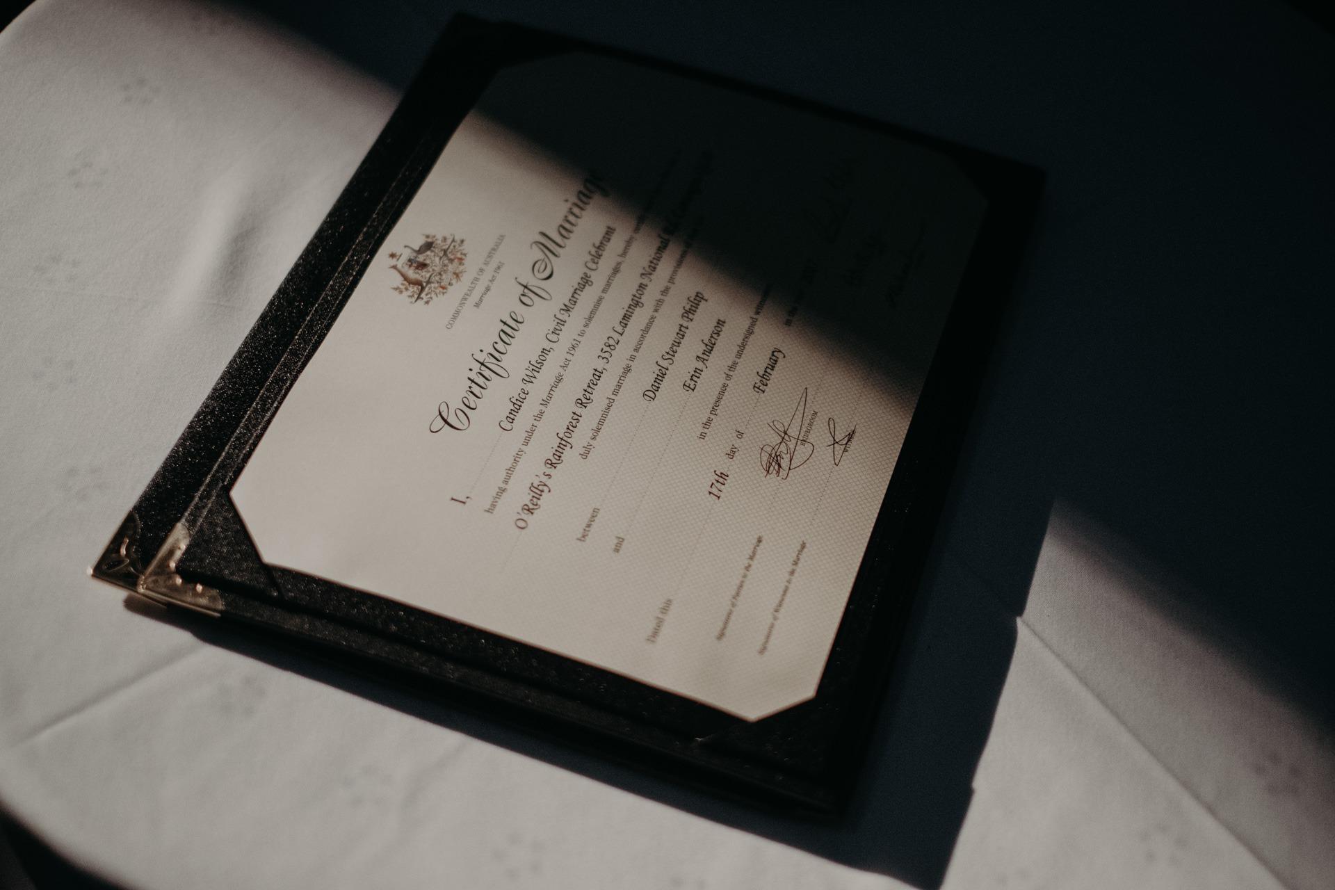 certificate of marriage oreillys rainforest retreat