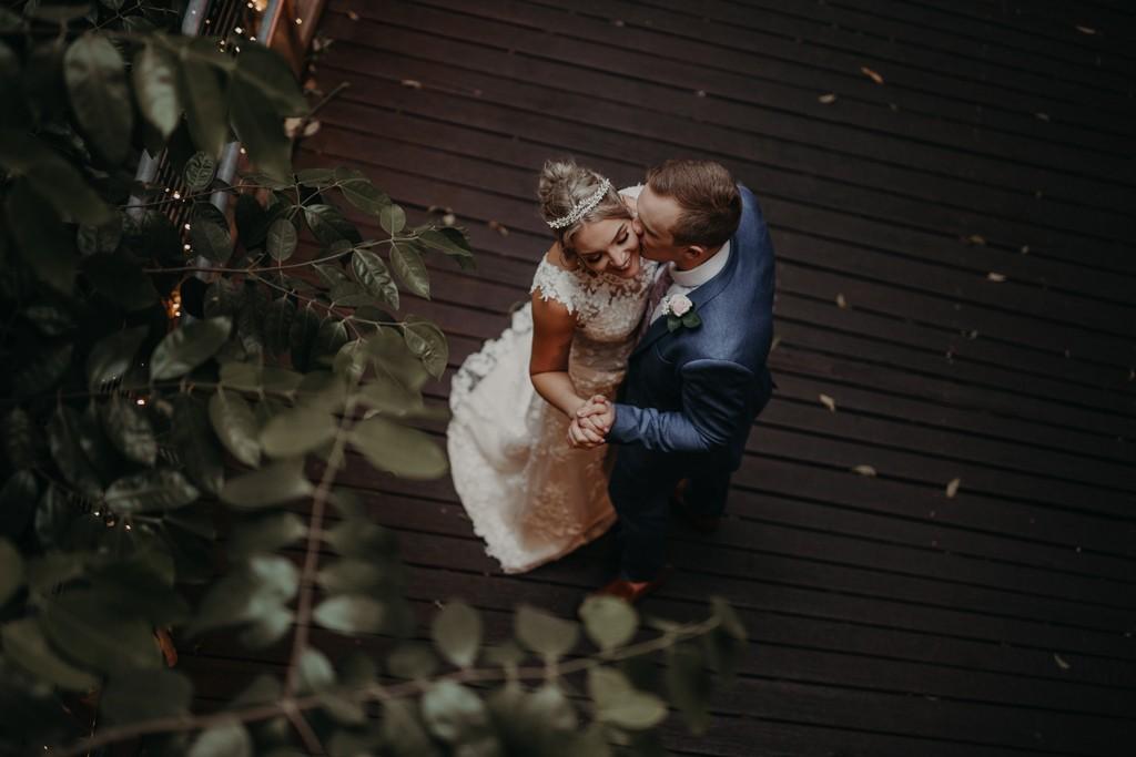 Bride and groom dancing Roma Street Parklands boardwalk