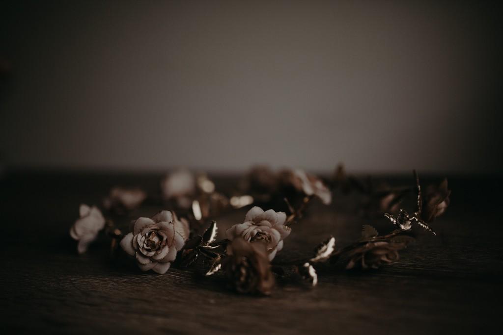 gold bride flower crown
