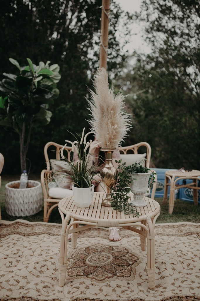 bridal centre piece rustic at garden wedding Eatons hill Brisbane