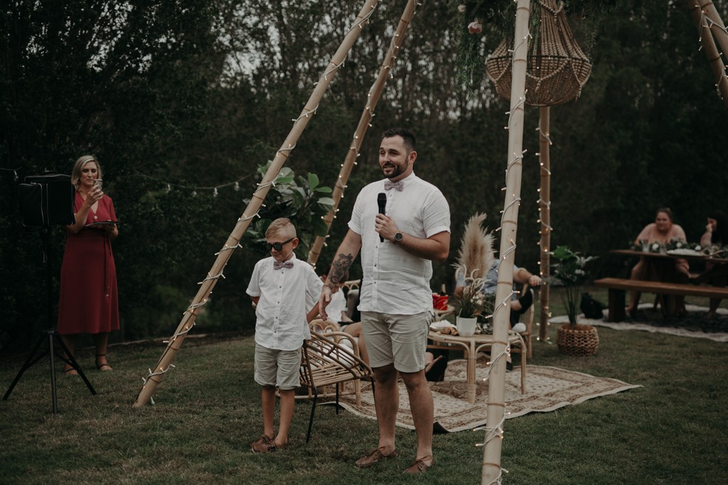 groom and son at garden wedding Eatons hill Brisbane