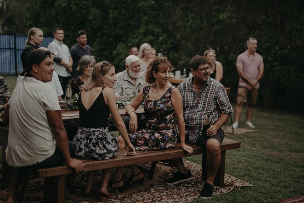 guests at wedding at garden wedding Eatons hill Brisbane