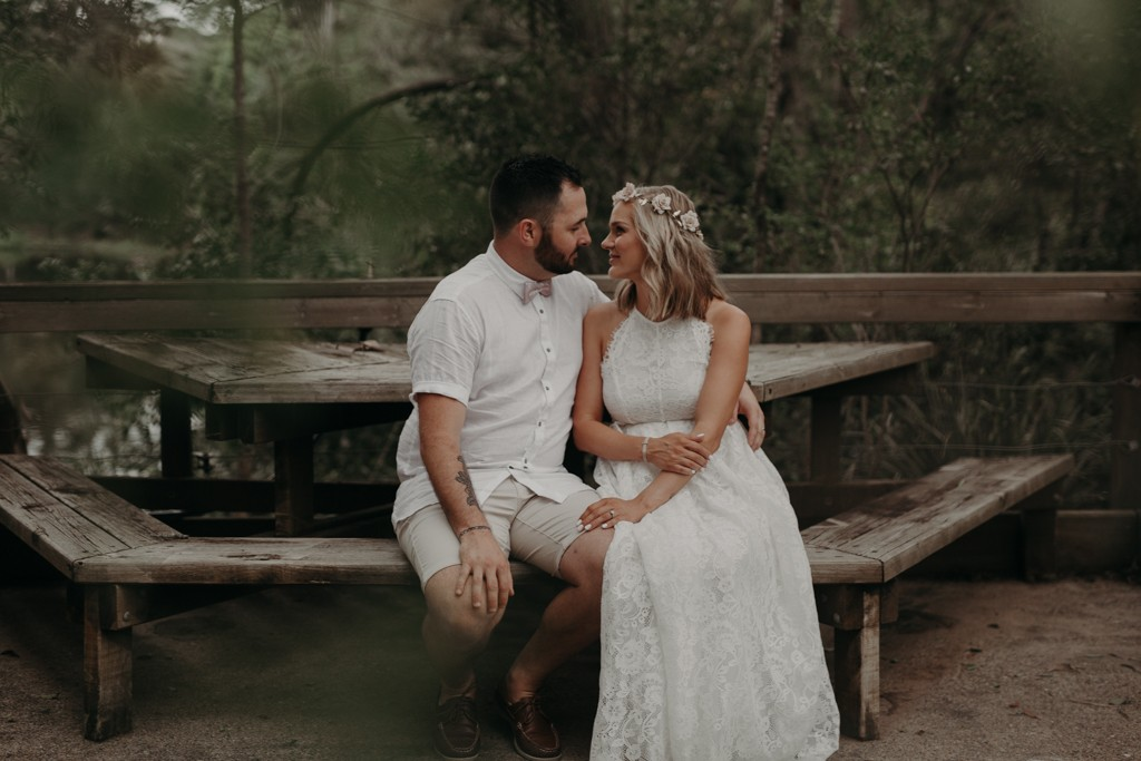 bride and groom talking v