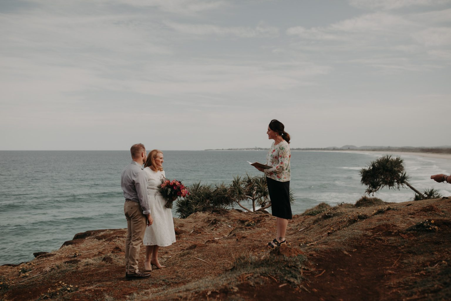 bride and groom clifftop elopement