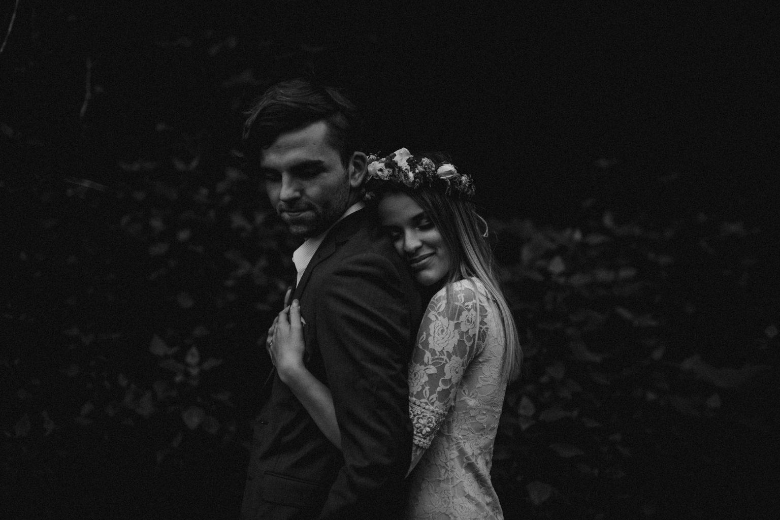 boho bride and groom flower crown