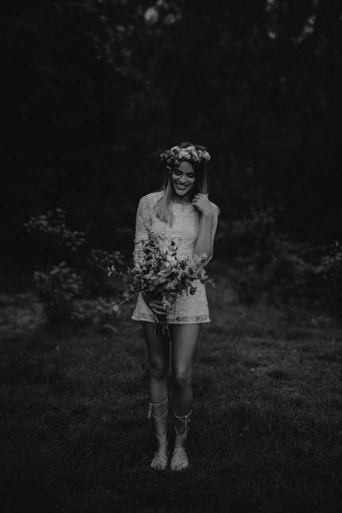 boho bride and groom flower crown and bouquet