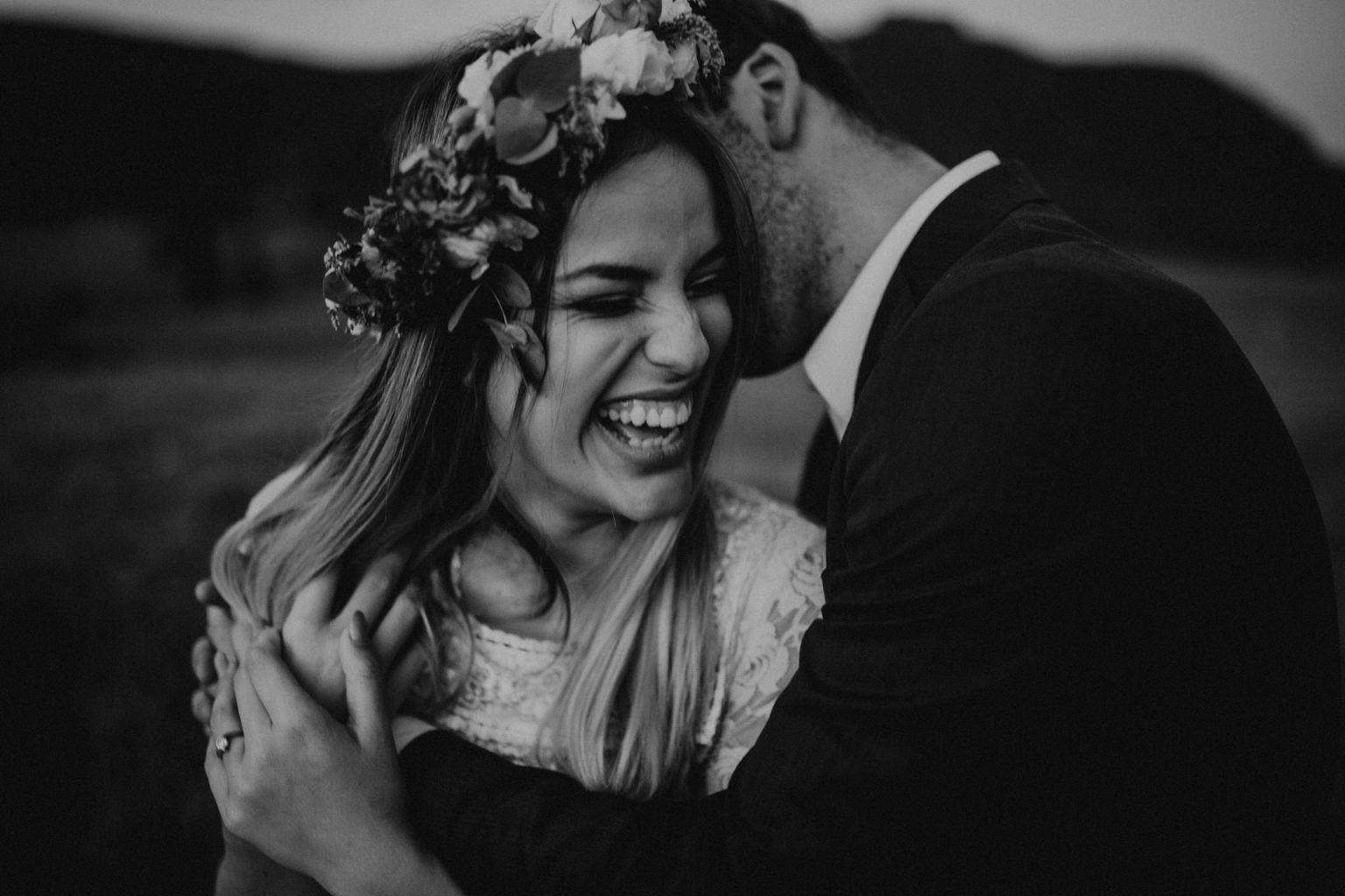 bride and groom on country lane laughing scenic rim flower crown