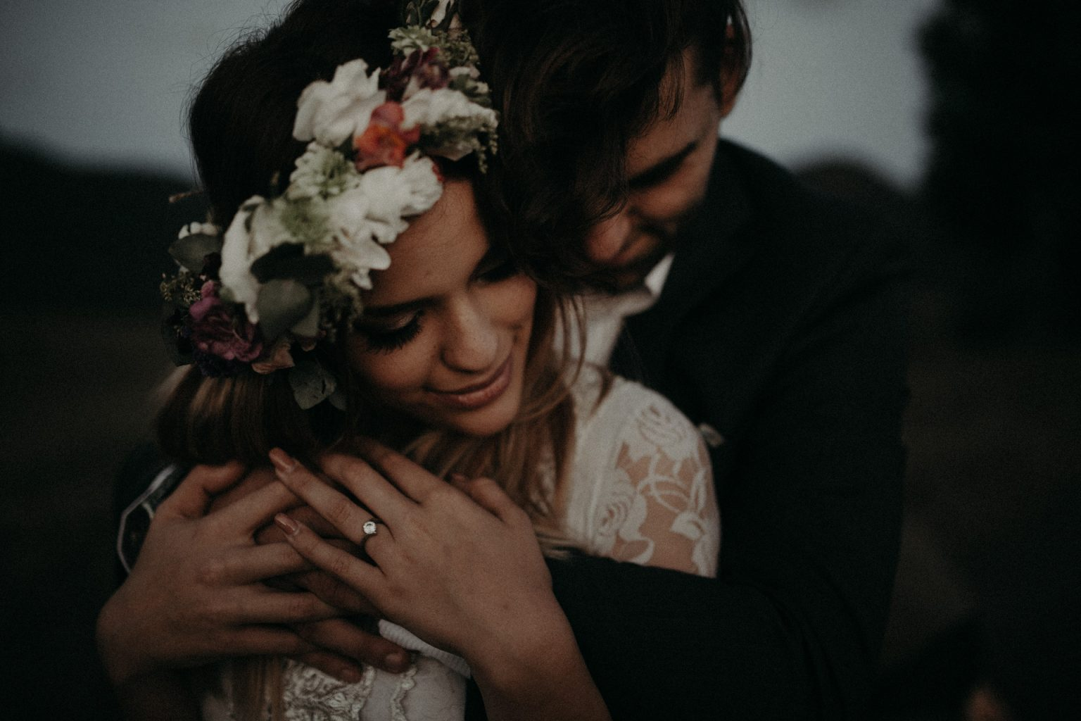 groom holding bride country lane laughing scenic rim